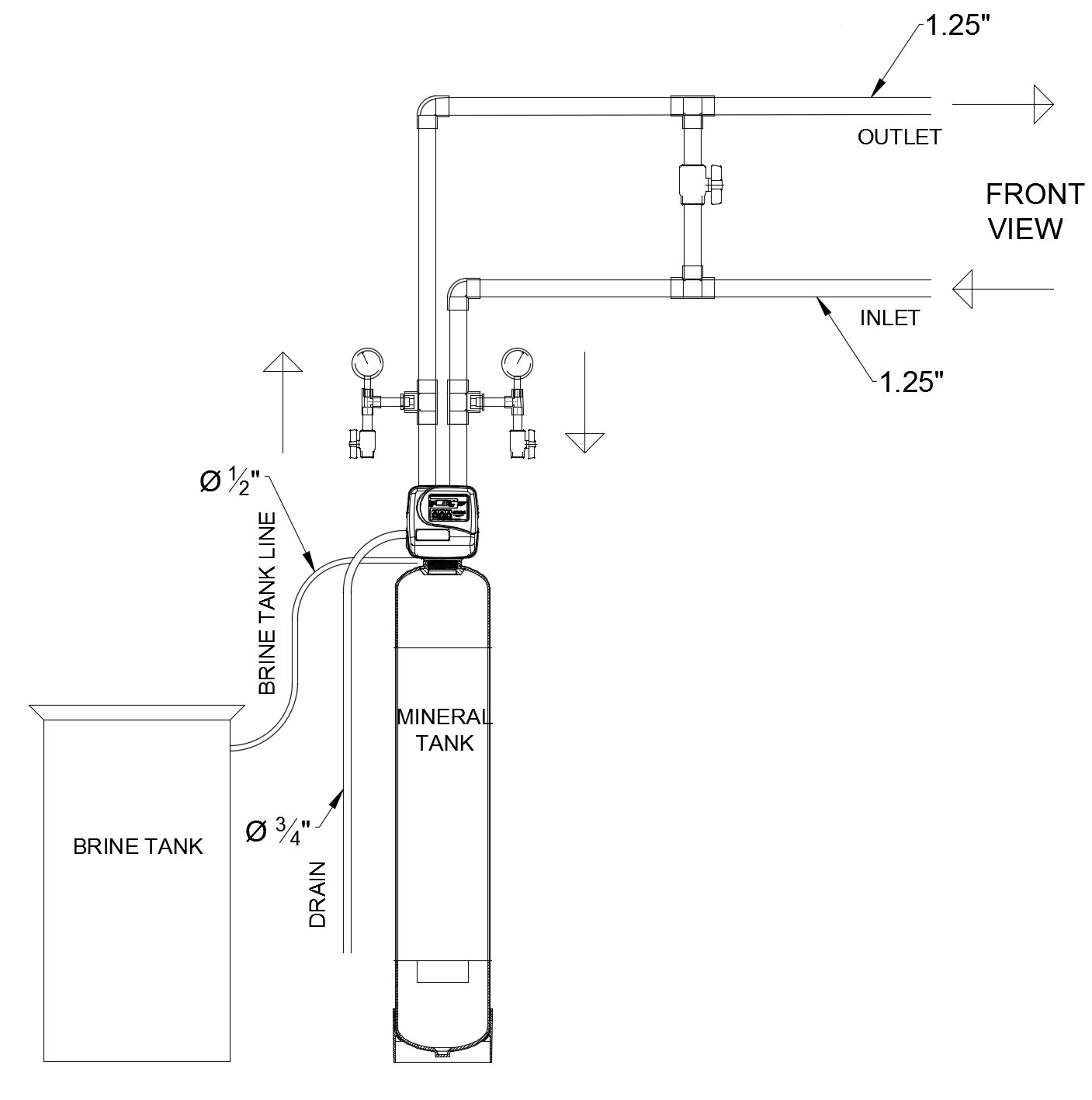 schematic drawing of ews s125n simplex commercial/industrial water softener