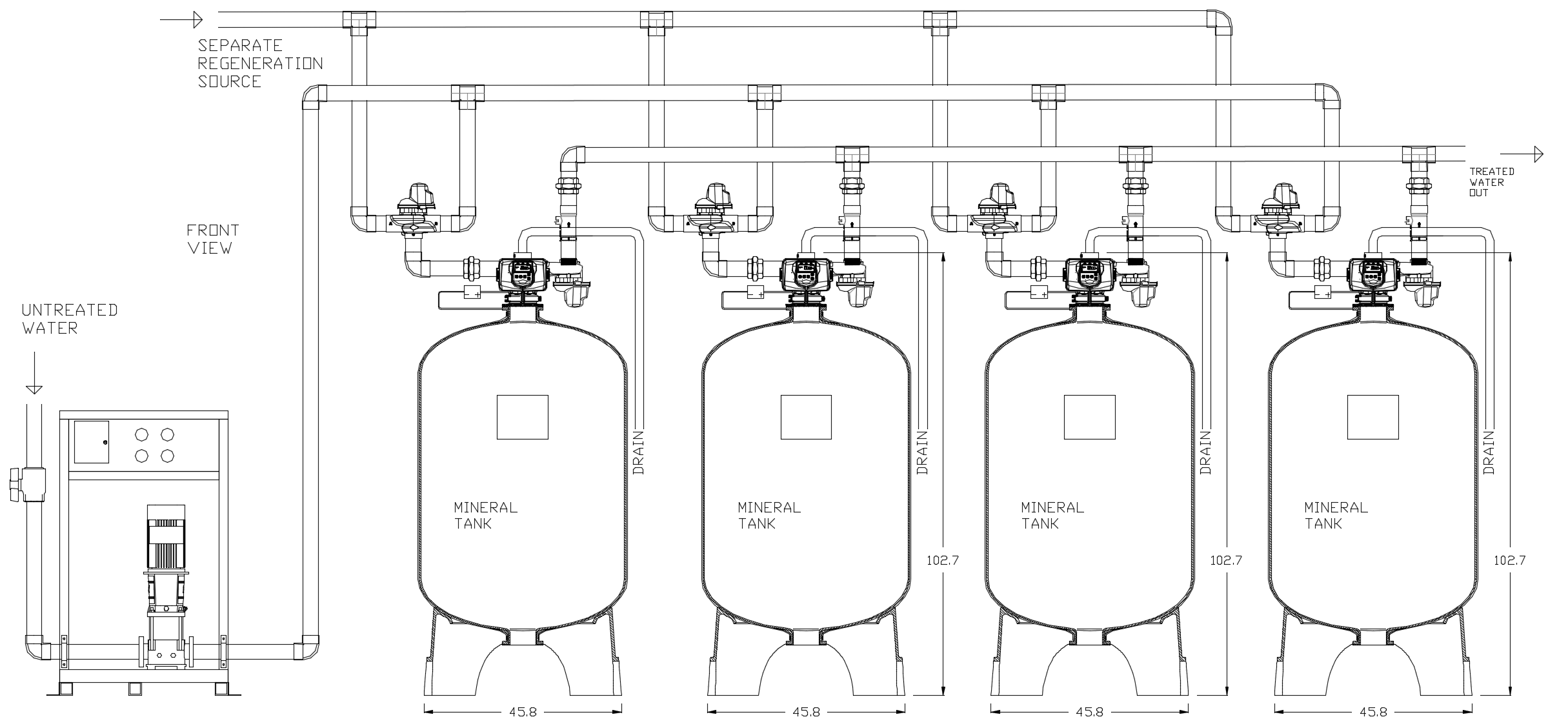 Controlled Regeneration Cooling Tower Side Stream 5-Micron Quadplex Filter System