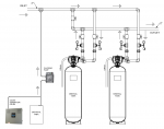 2,0 inch H duplex alternating iron / sulphur / manganese filter schematic